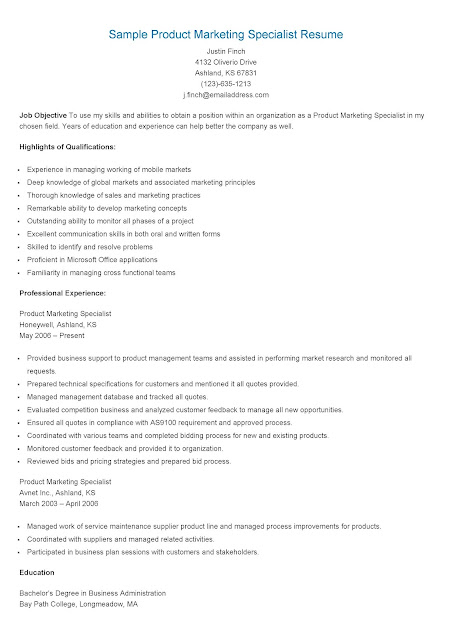 resume samples  sample product marketing specialist resume