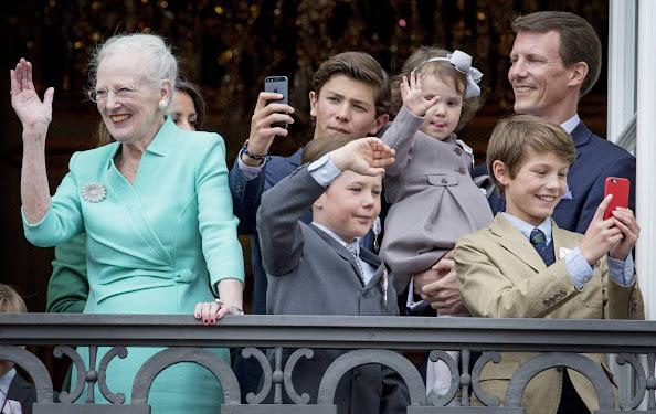 Queen Margrethe, Crown Prince Frederik, Crown Princess Mary, Prince Christian, Princess Isabella, Prince Vincent, Princess Josephine, Prince Joachim, Princess Marie, Prince Felix, Prince Nikolai, Prince Henrik and Princess Athena of Denmark