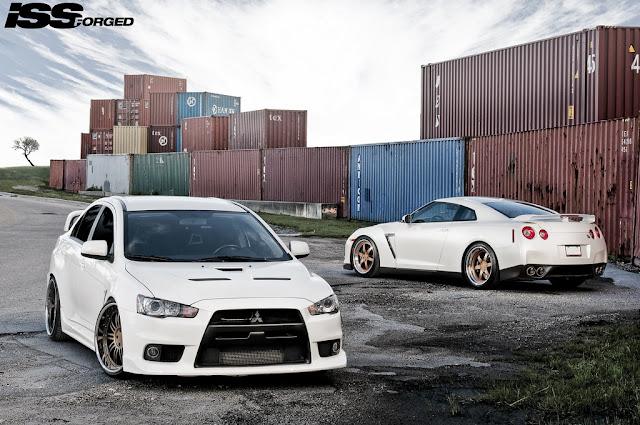 Mitsubishi Lancer Evolution X & Nissan GT-R, japoński sportowy sedan, samochód, godzilla