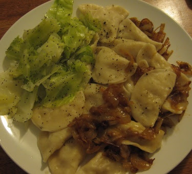 Steamed Cabbage with Butter and Poppy Seeds with pierogies