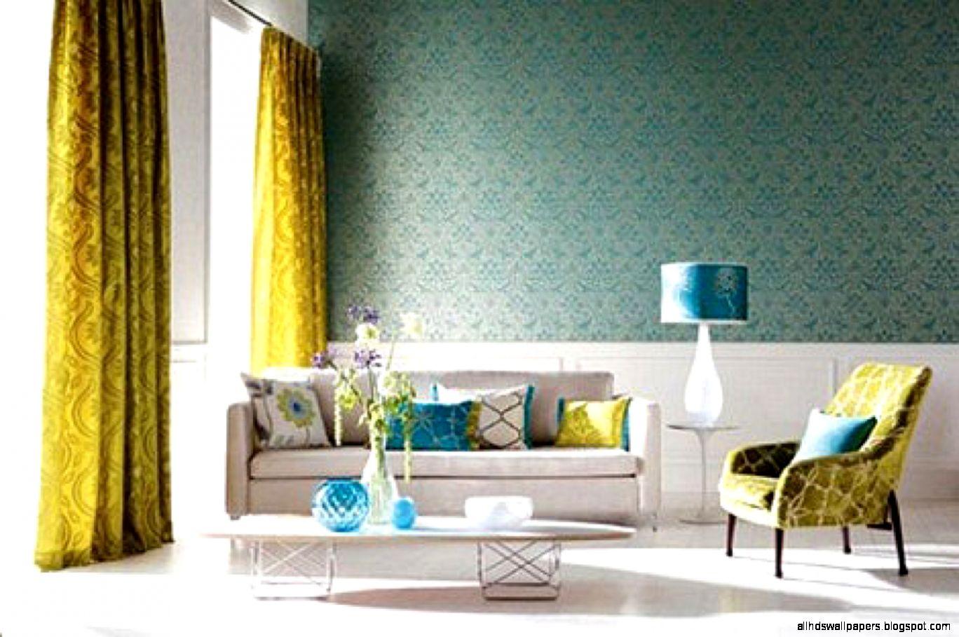 Blue Wallpaper Fabric Interior Design Home Decorating Ideas Decor