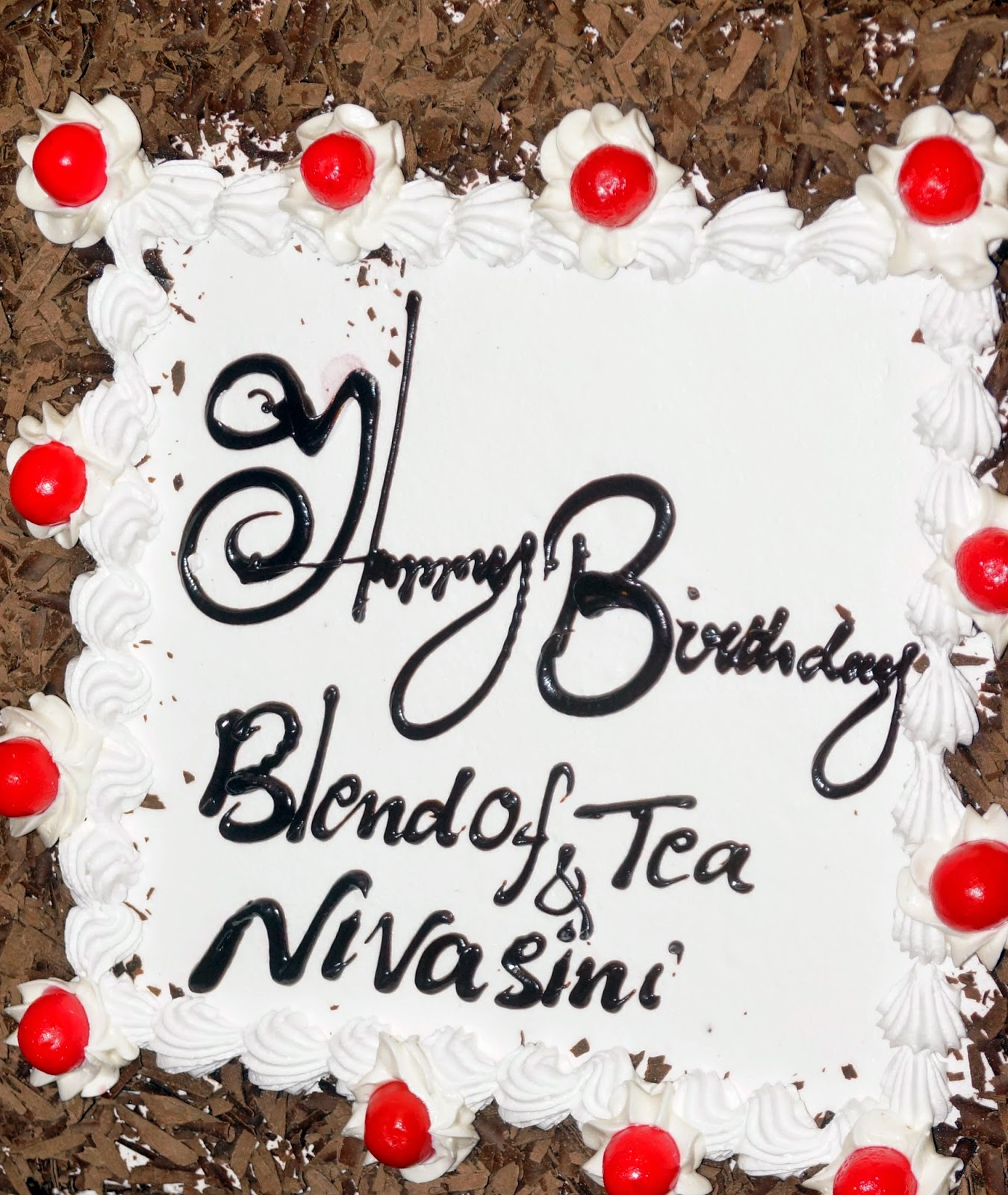 Blend Of Tea Second Anniversary Birthday Cake - Black Forest from Vacs