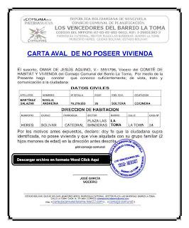 CARTA AVAL DE NO POSEER VIVIENDA