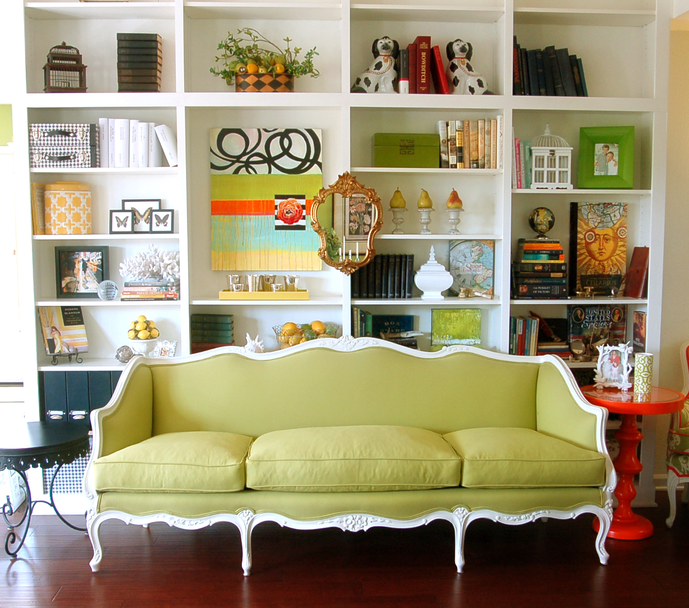 Show tell living room is livable for Living room bookcases built in