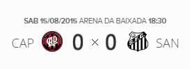 O placar de Atlético-PR 0x0 Santos pela 18ª rodada do Brasileirão 2015