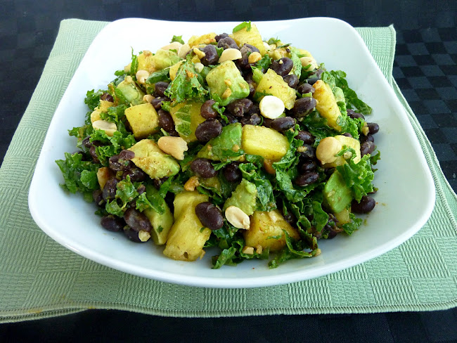 Vanilla & Spice: Pineapple Kale Salad with Black Beans and Avocado