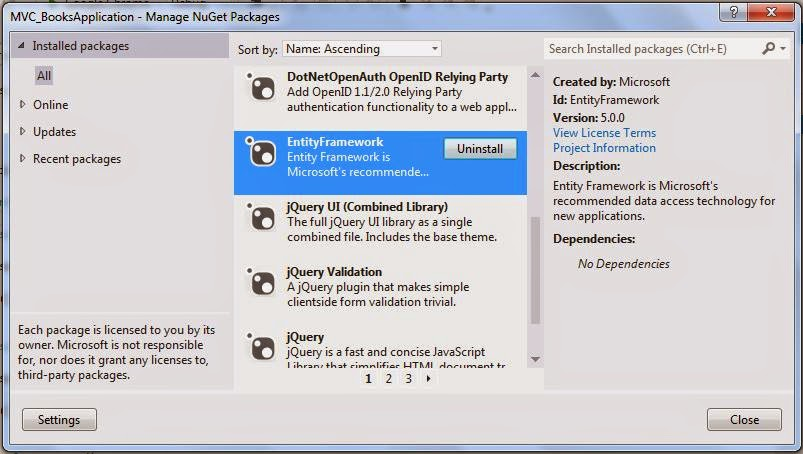 Create, Read, Update, Delete operation using MVC and Entity Framework