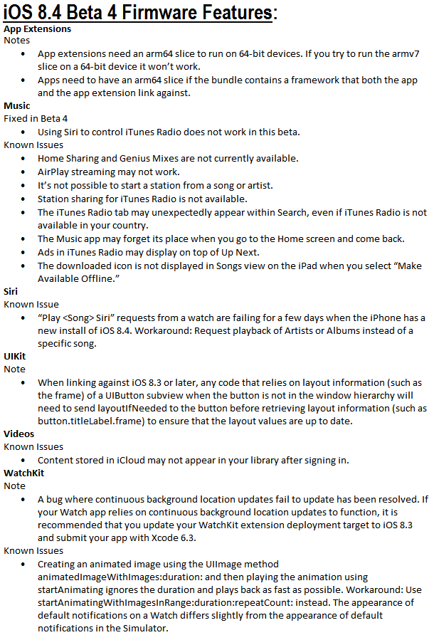 iOS 8.4 Beta 4 Features and Changelog