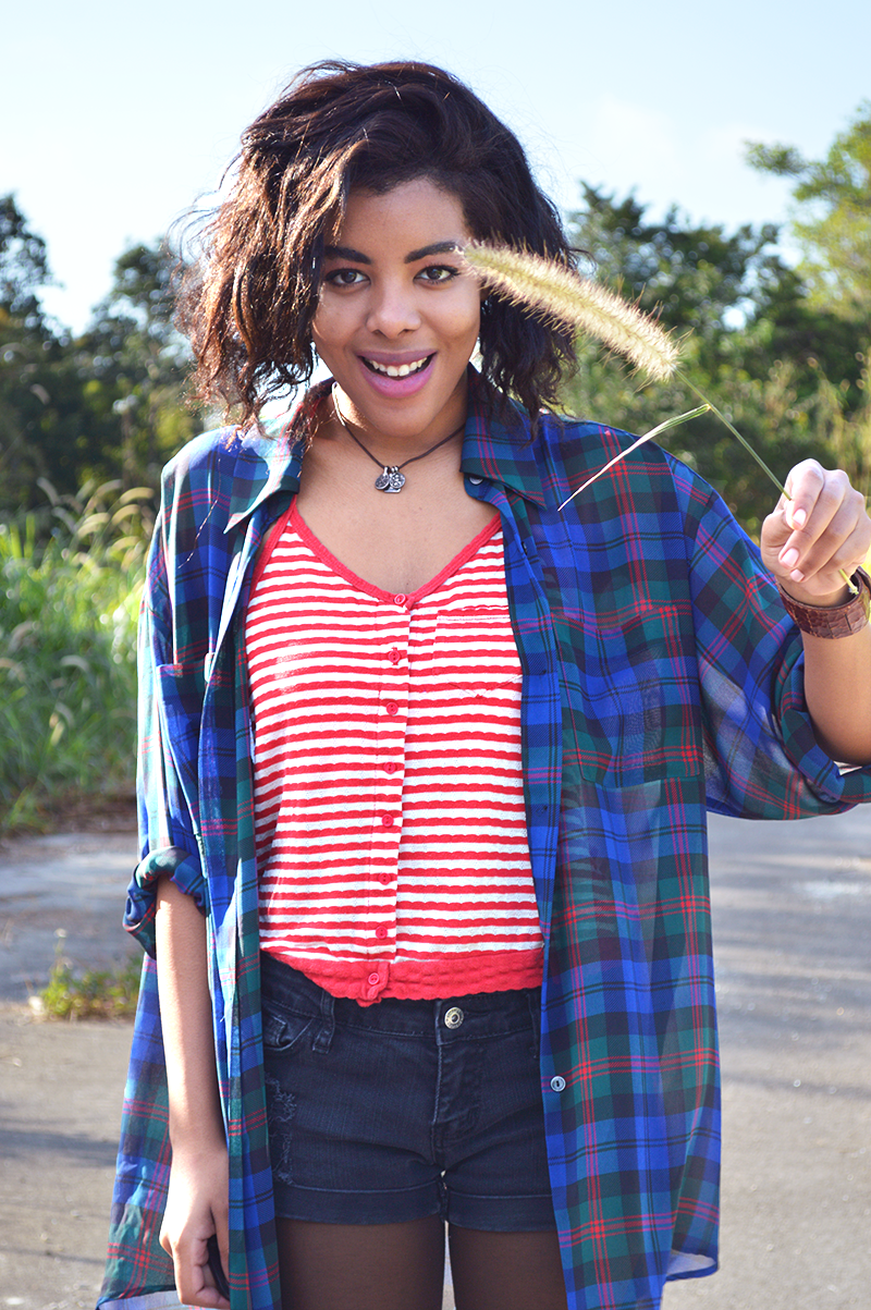 Fashion Blogger Anais Alexandre of Down to Stars in a vintage plaid oversized shirt with a Cooperative red striped tank and Forever 21 shorts