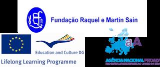 logotipos da Fundação Sain, do Programa Aprendizagem ao Longo da Vida e da Agência Nacional PROALV