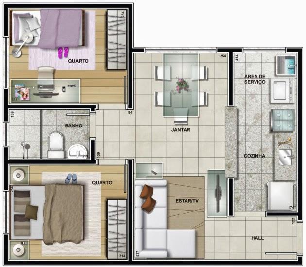 planta de apartamento espaçoso 2 quartos