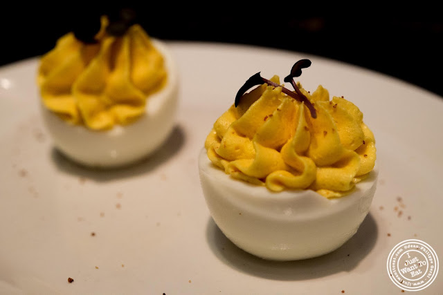 image of deviled eggs at Blue Smoke in NYC, New York
