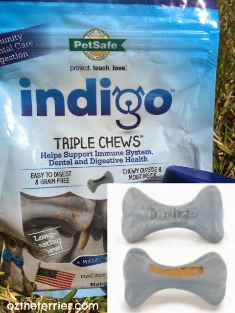 PetSafe Brand indigo Fresh Triple Chew dental treats with antioxidants and probiotics