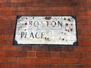 Ghost street sign, Boston Place, Marylebone, London.