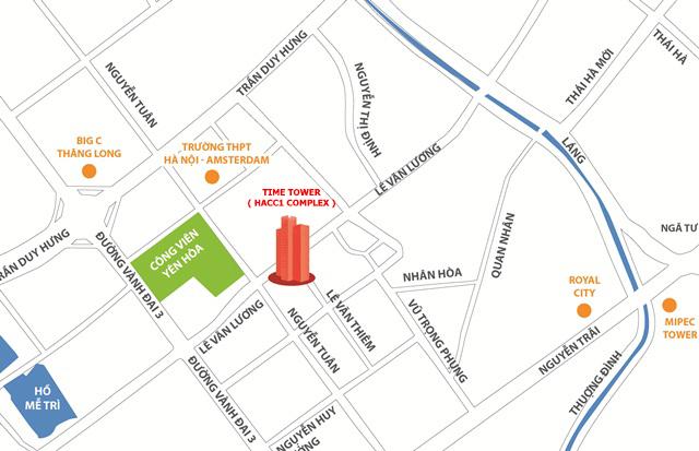 Vị trí chung cư Time Tower - HACC1 Complex