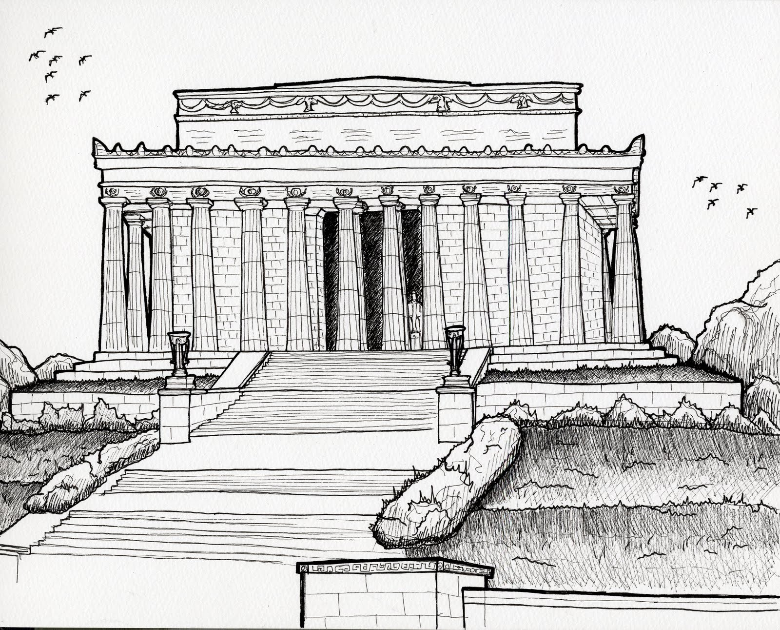 Urban Sketchers Seattle: Abraham Lincoln Memorial