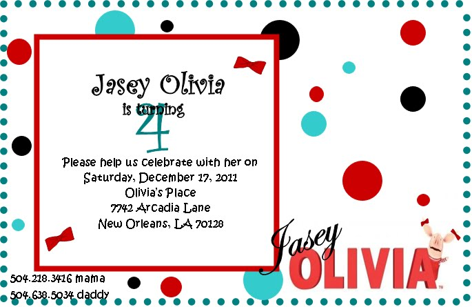 Olivia Pig Invitation http://shonais.blogspot.com/2011/12/olivia-pig-birthday-invitations.html