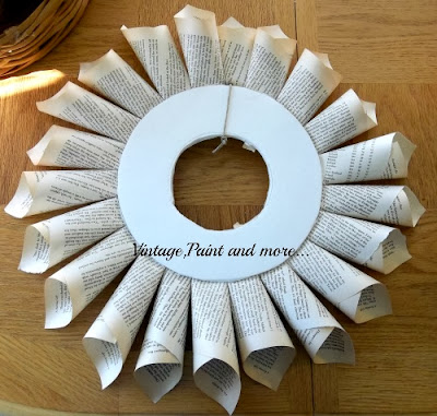Book Page Wreath Tutorial - front of wreath with first row finished
