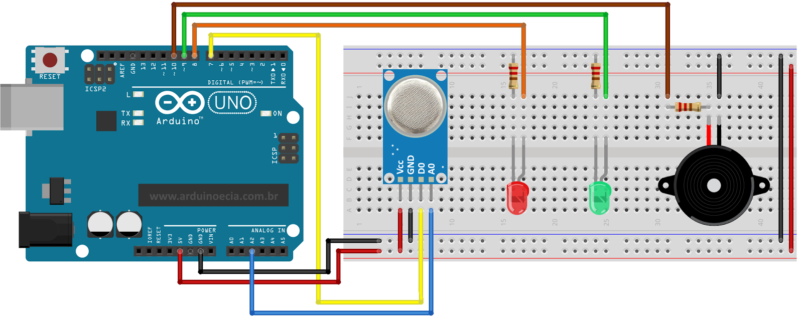 Circuito Arduino Uno sensor MQ-2