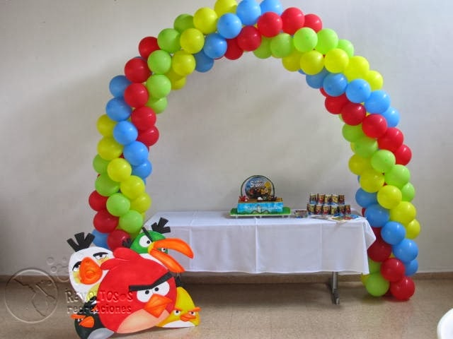 DECORACION CON GLOBOS E ICOPOR ANGRY BIRTH