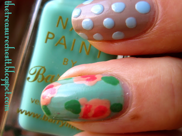 barry m mint rose nail art nails with polka dots essie brooch the subject