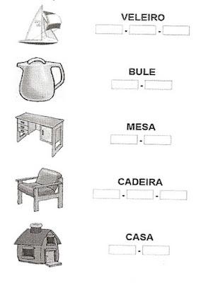 Atividade separar sílabas - Alfabetização.
