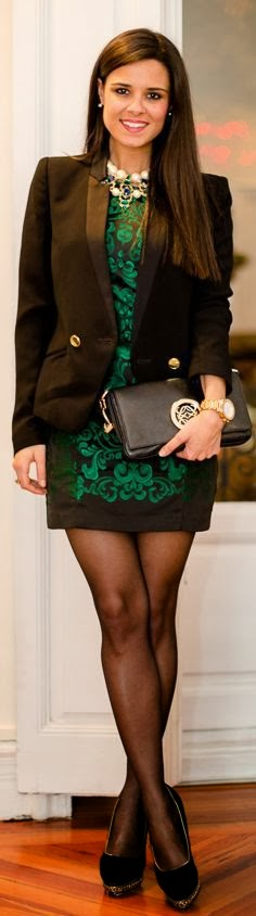 Green printed black dress with lovely jacket and leather handbag - She is so pretty