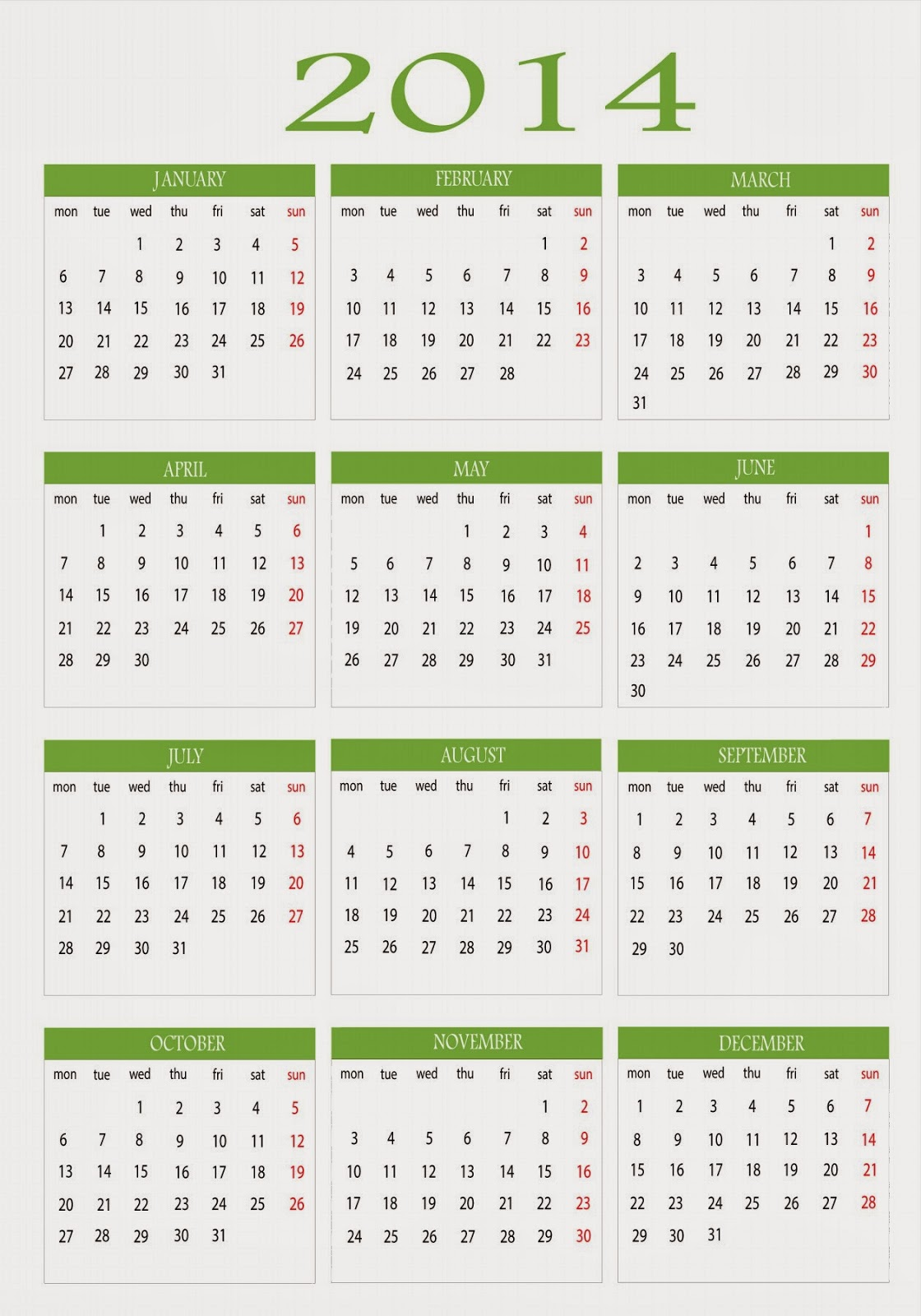 2014 Calendar Wallpapers