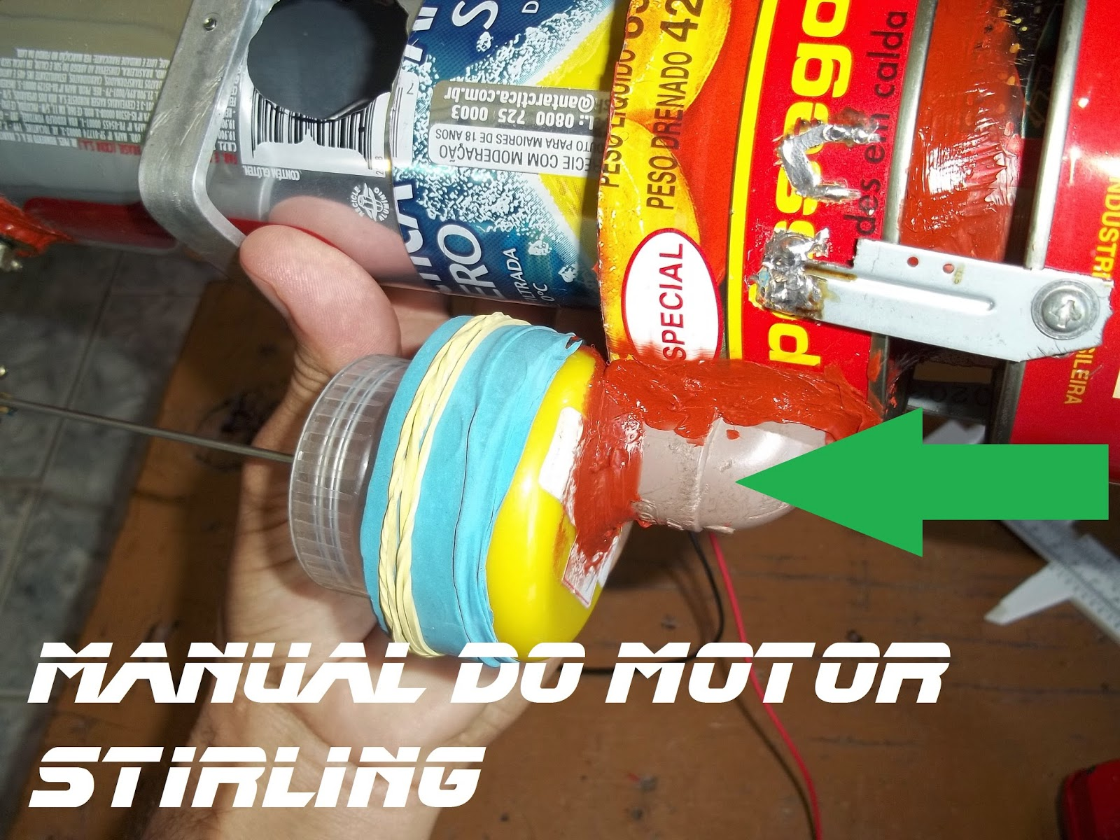 Manual do motor Stirling, o joelho de PVC 20