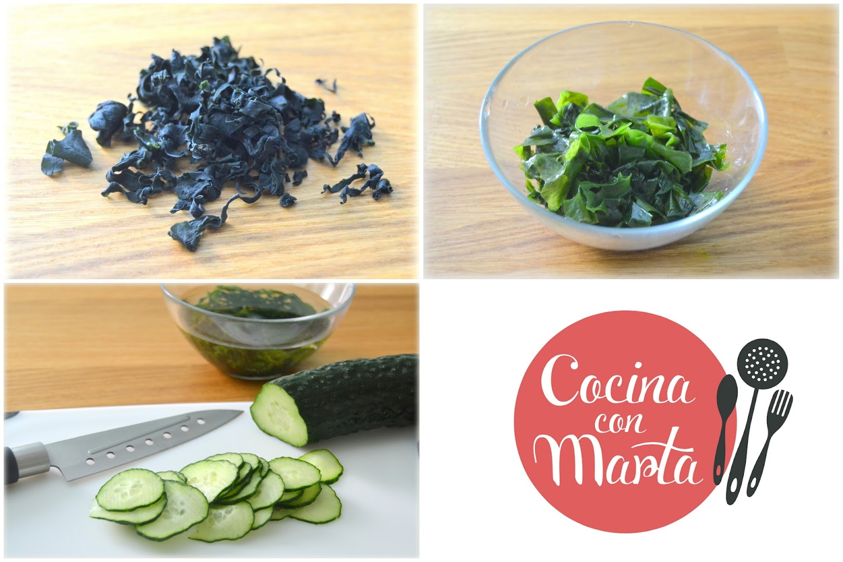Ensalada Casera de pepino y algas wakame, receta japonesa. Fácil, sana, rápida. Cocina con Marta