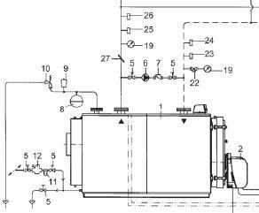Esquema de caldera convencional con bomba anticondensación