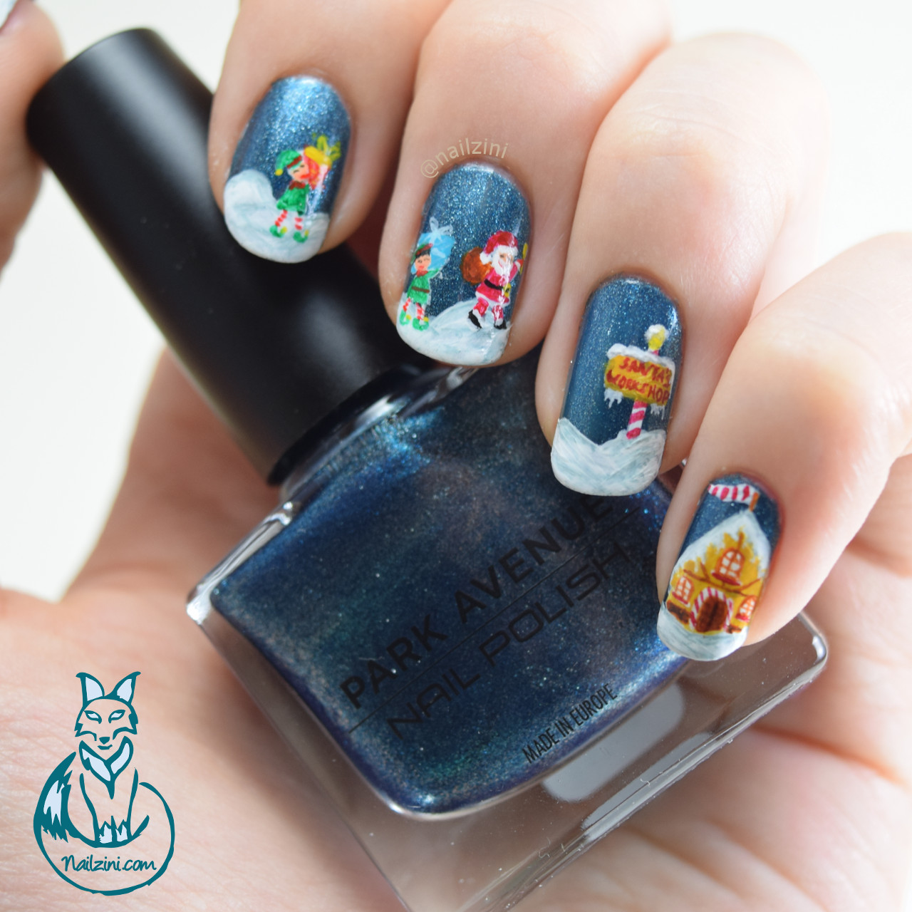 Santa's Workshop Christmas Nail art