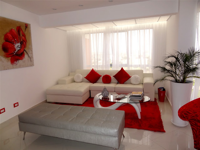 SALA COMEDOR ROJO Y BLANCO RED AND WHITE LIVINGROOM by salasycomedores.blogspot.com