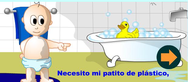 El Baño Cuento Infantil: conectar un pulsador para que sea el niño el pasa la pagina todos