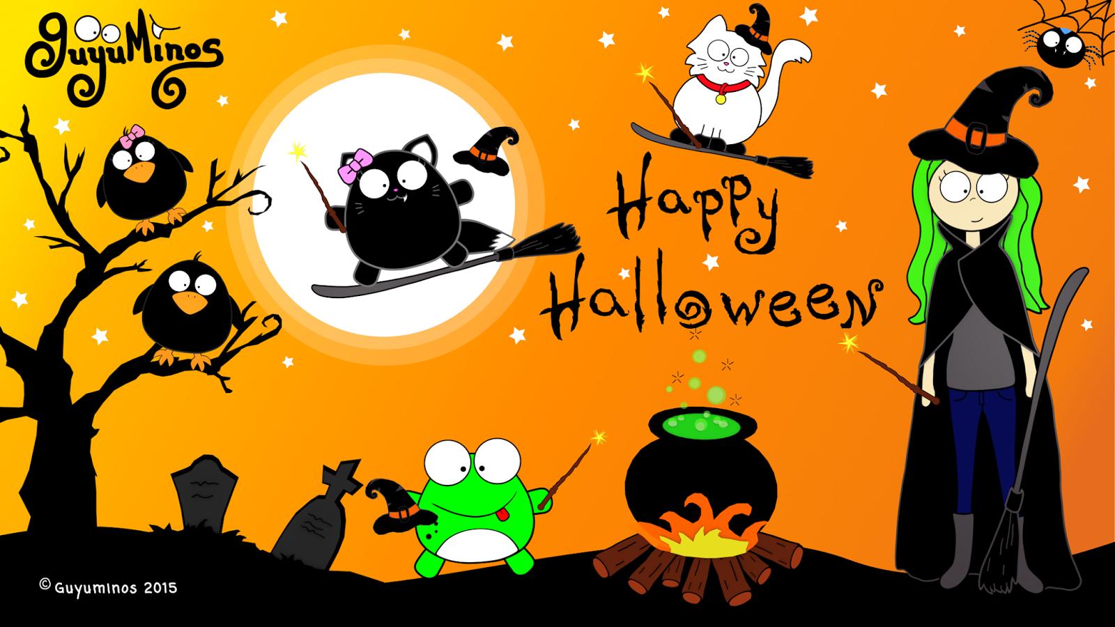 Wallpaper de Halloween con Brujas y Magos! ©Guyuminos 2015.