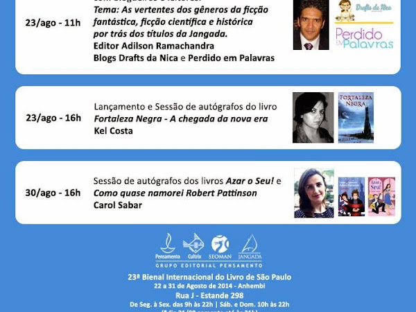 Programação do Grupo Editorial Pensamento para a XXIII Bienal do Livro de São Paulo