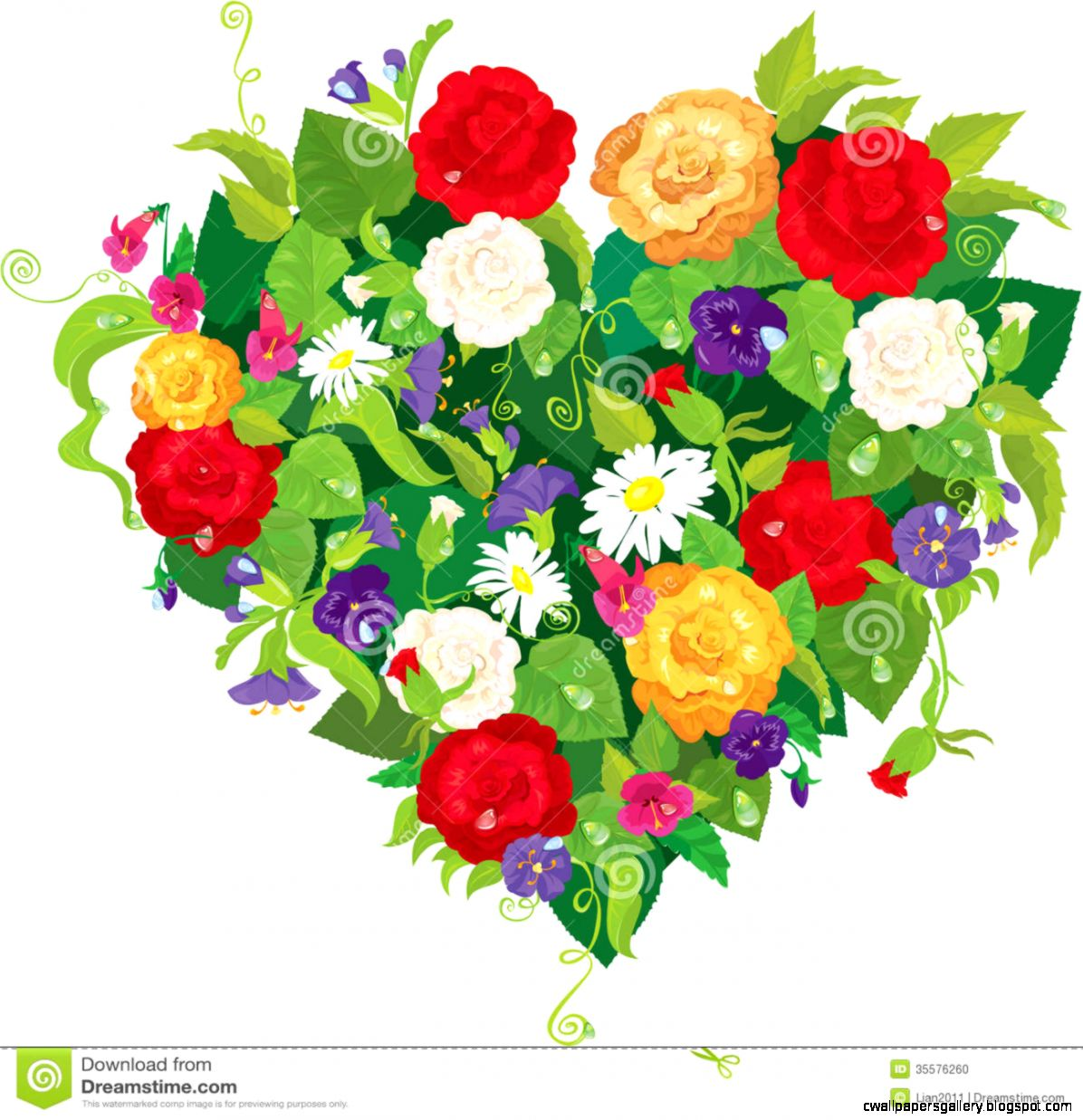 Heart Shape Is Made Of Beautiful Flowers   Roses Stock Photo