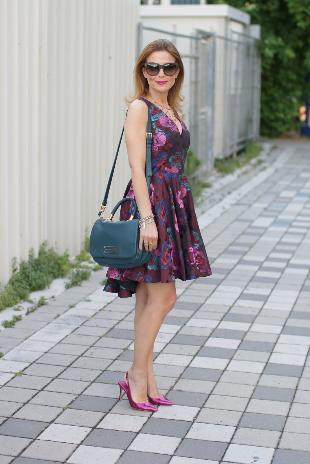 What to wear to a wedding, Asos floral jacquard dress, high low hem dress, skater dress and Le Silla heels on Fashion and Cookies fashion blog