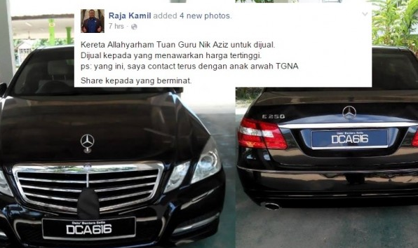 Fitnah Kereta Allahyarham Nik Abdul Aziz Nik Mat Untuk Dijual