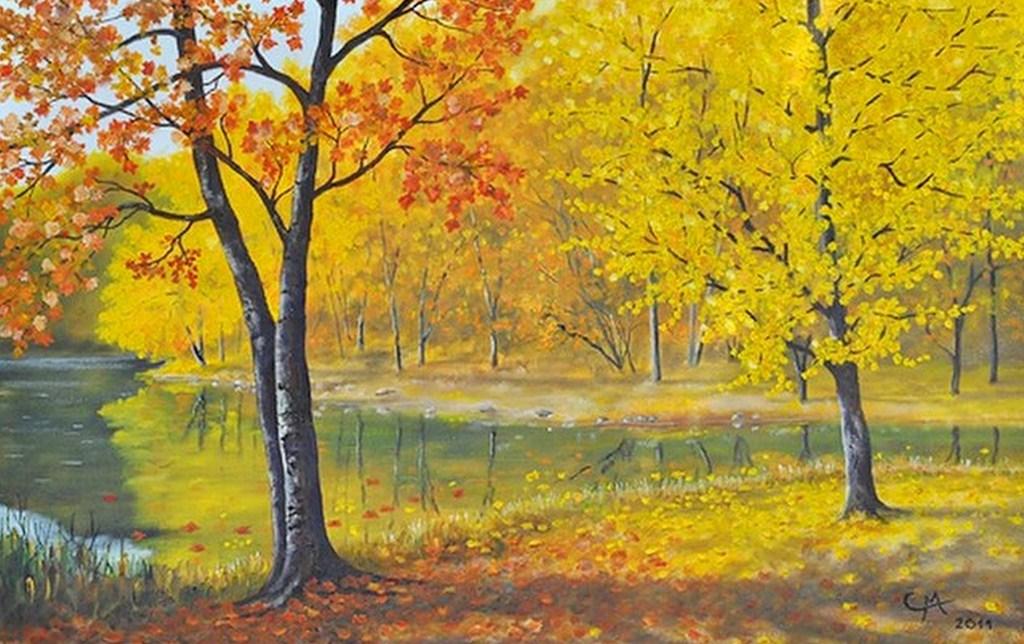 Cuadros Modernos: Cuadros paisajes natural otoño