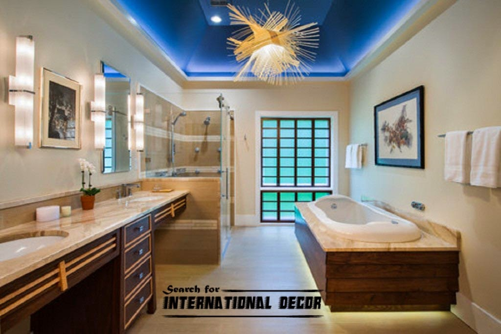false ceiling for bathroom with led light blue