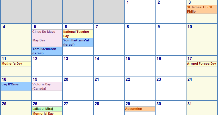 Excel Calendar Template 2014