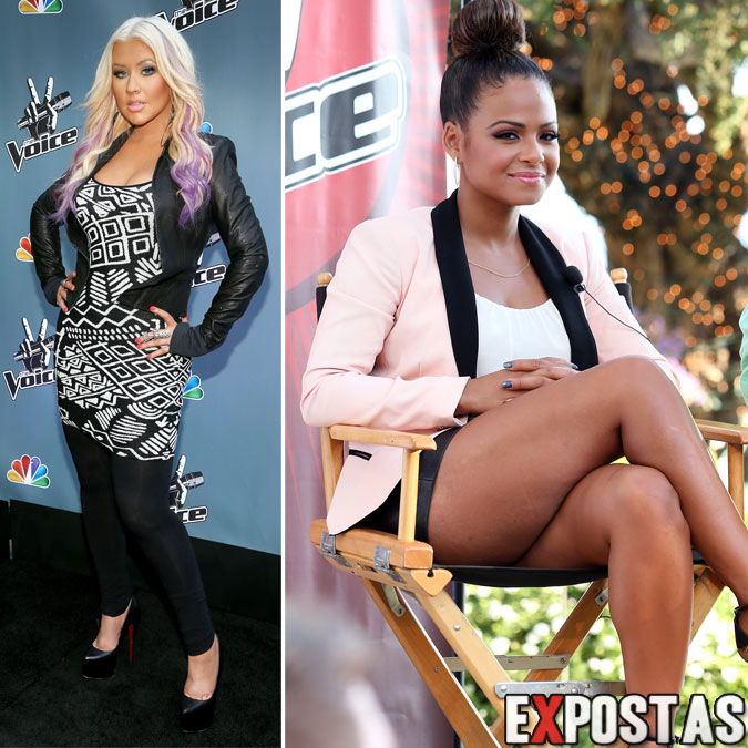 Christina Aguilera e Christina Milian em coletiva de impressa da nova temporada do 'The Voice' - Los Angeles - 12 de Agosto de 2012
