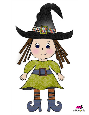 Little Halloween witch in green orange black hand drawn for scrapbooking also avaiable in digi stamp