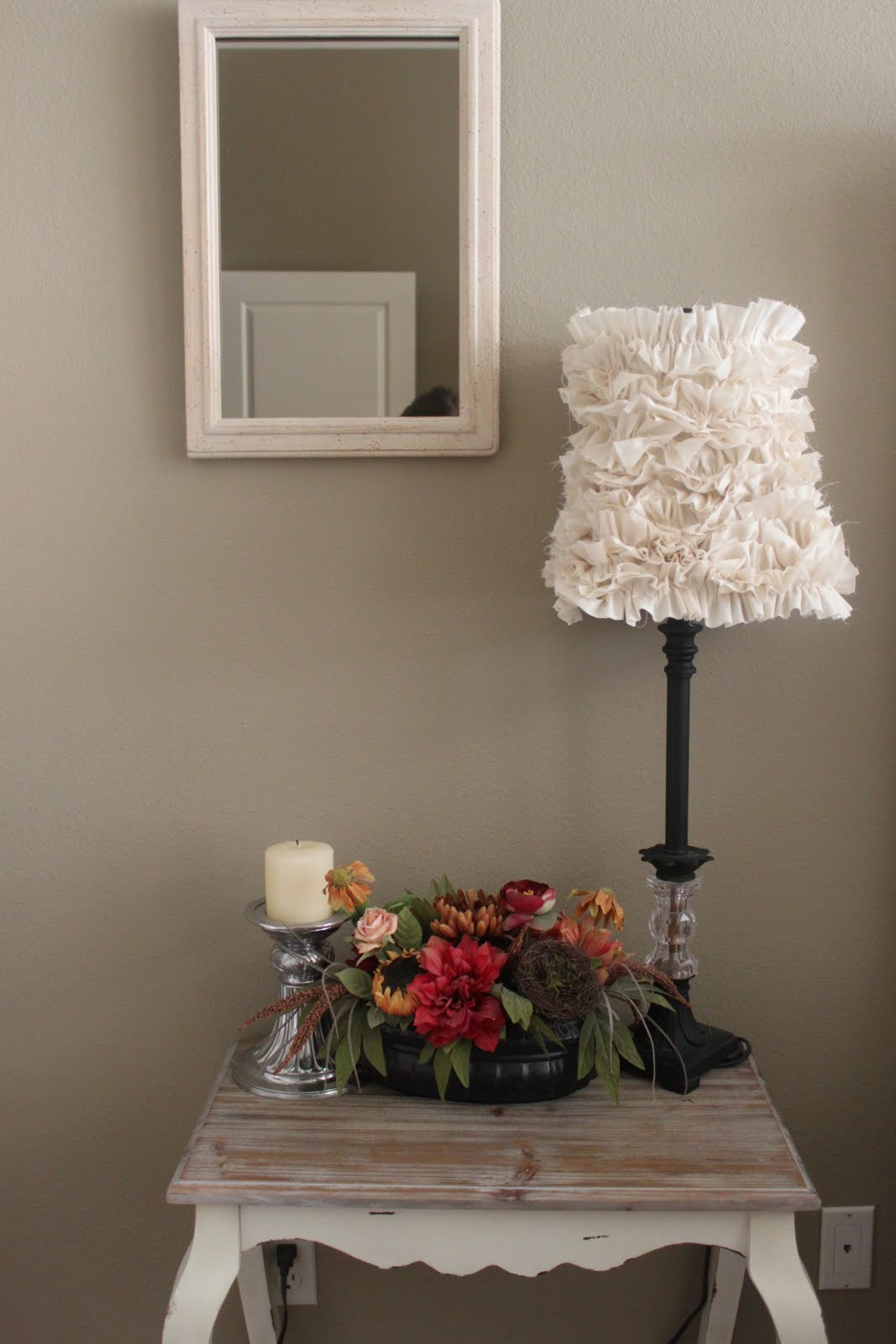 crafty texas girls crafty how to ruffled lamp shade. Black Bedroom Furniture Sets. Home Design Ideas