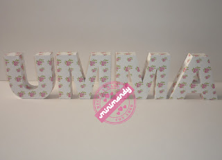 Minimandy. Letras corpóreas de papel. Candy bar.
