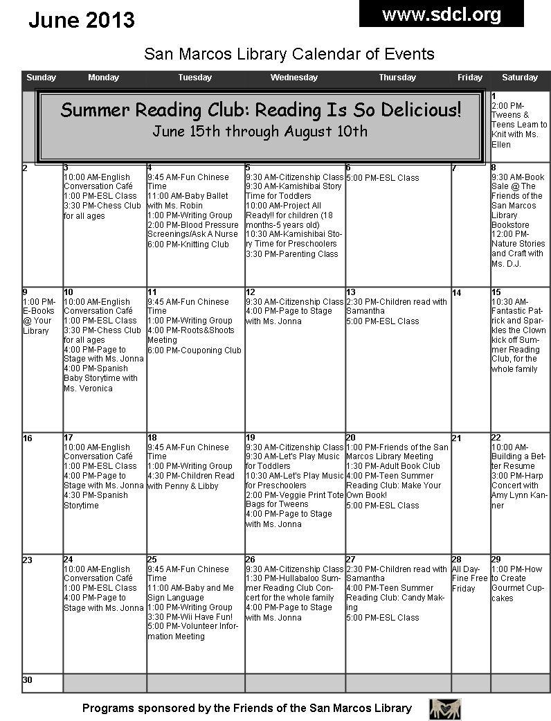 June Calendar Events : San marcos library