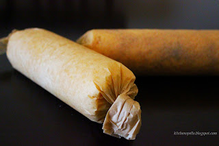 Sponge cake rolled in parchment paper
