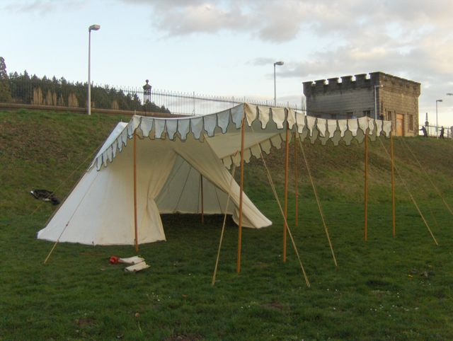 This is a large wedge tent with half-circles added to each end for an overall oval floor. A queen-sized mattress fits easily in the center section between ... & The Adventures of NeedleGrrl!: Medieval Pavilion Tent for sale!