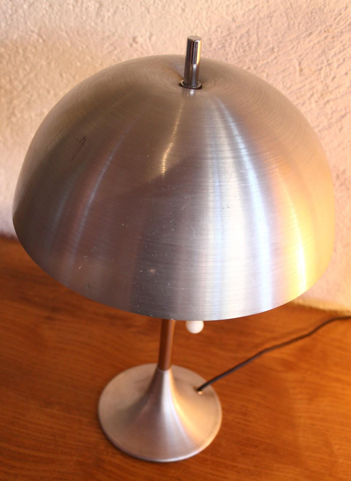 Lampe Champignon Métal Brossé 1970